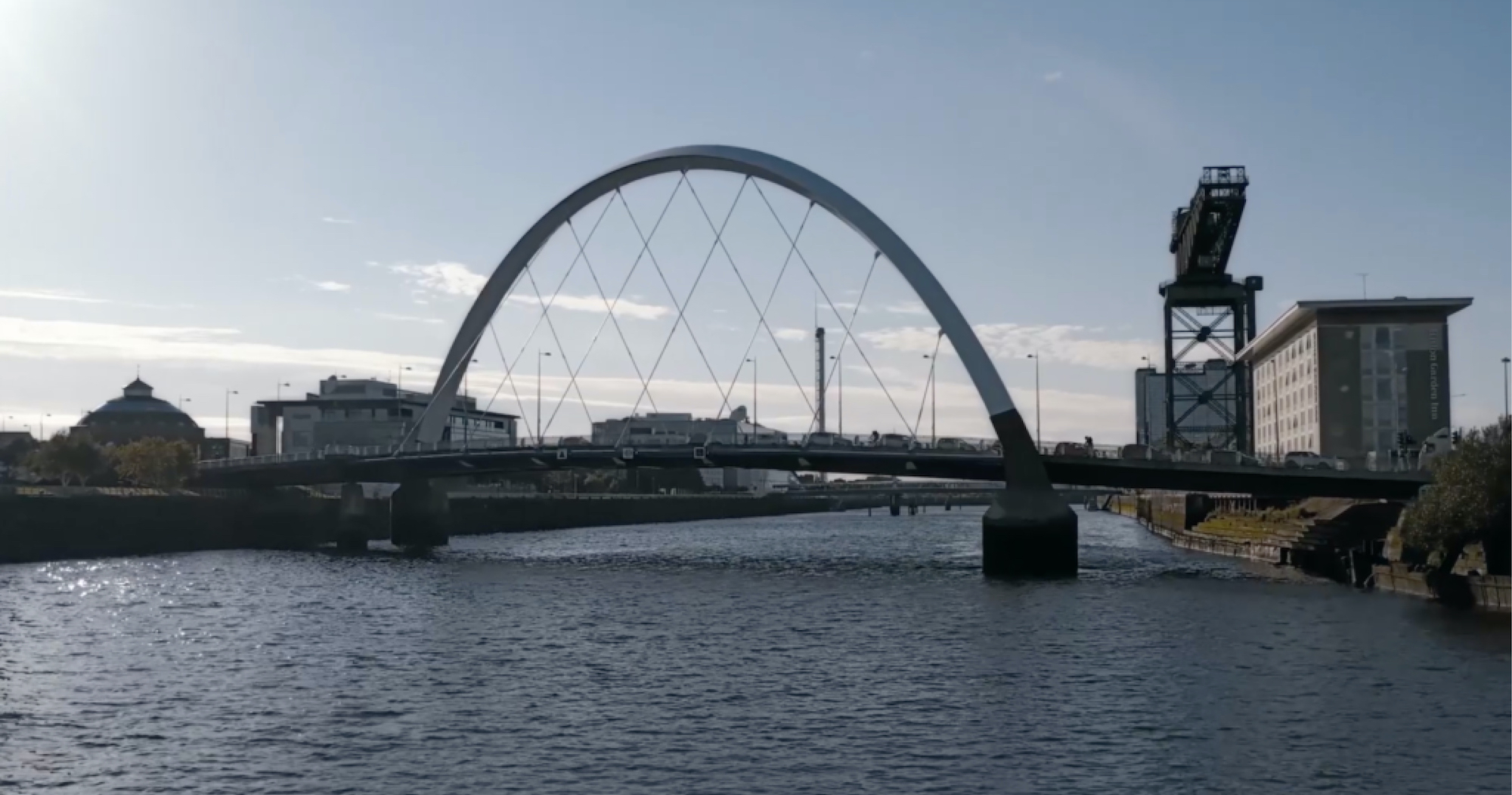 The Clyde Arc and Clyde riverside, Glasgow, on a sunny day