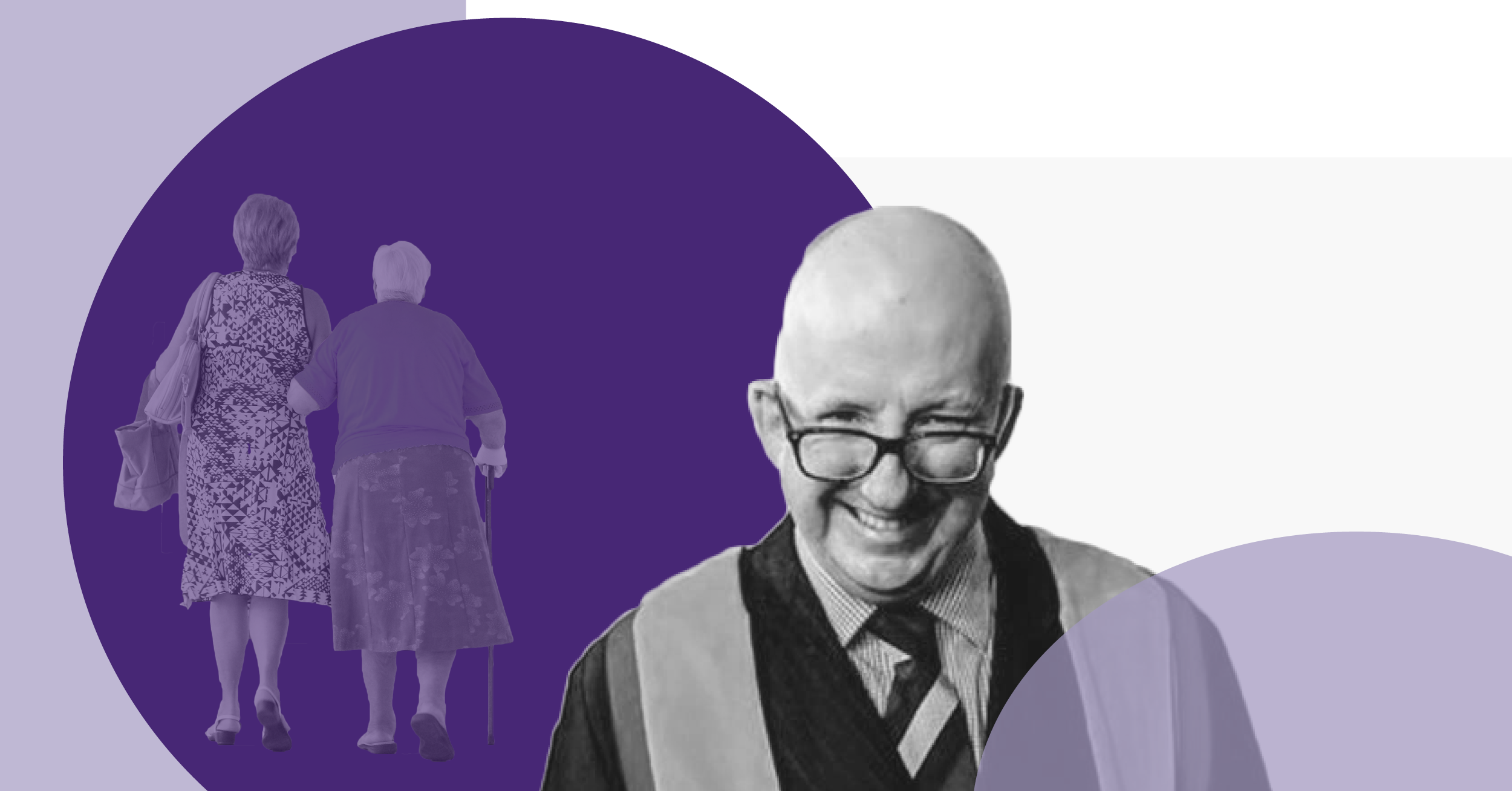 Dr Roddy Neilson in the foreground and an older woman and another woman walking away, with shaded purple decoration