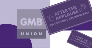 Signs supporting GMB Scotlands campaign for a Scottish carers wage with shaded purple design