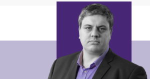 Scottish political commentator, Blair McDougall, on a dark and light purple background
