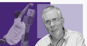 Education Consultant and Chair of Reform Scotland's Commission on School Reform, Keir Bloomer on a purple background with a child and building blocks