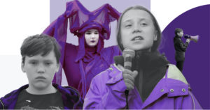 Greta Thunberg and young Scottish climate activists in a purple and white background
