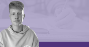 Coll Mccail, young Scottish Activist, on a purple background