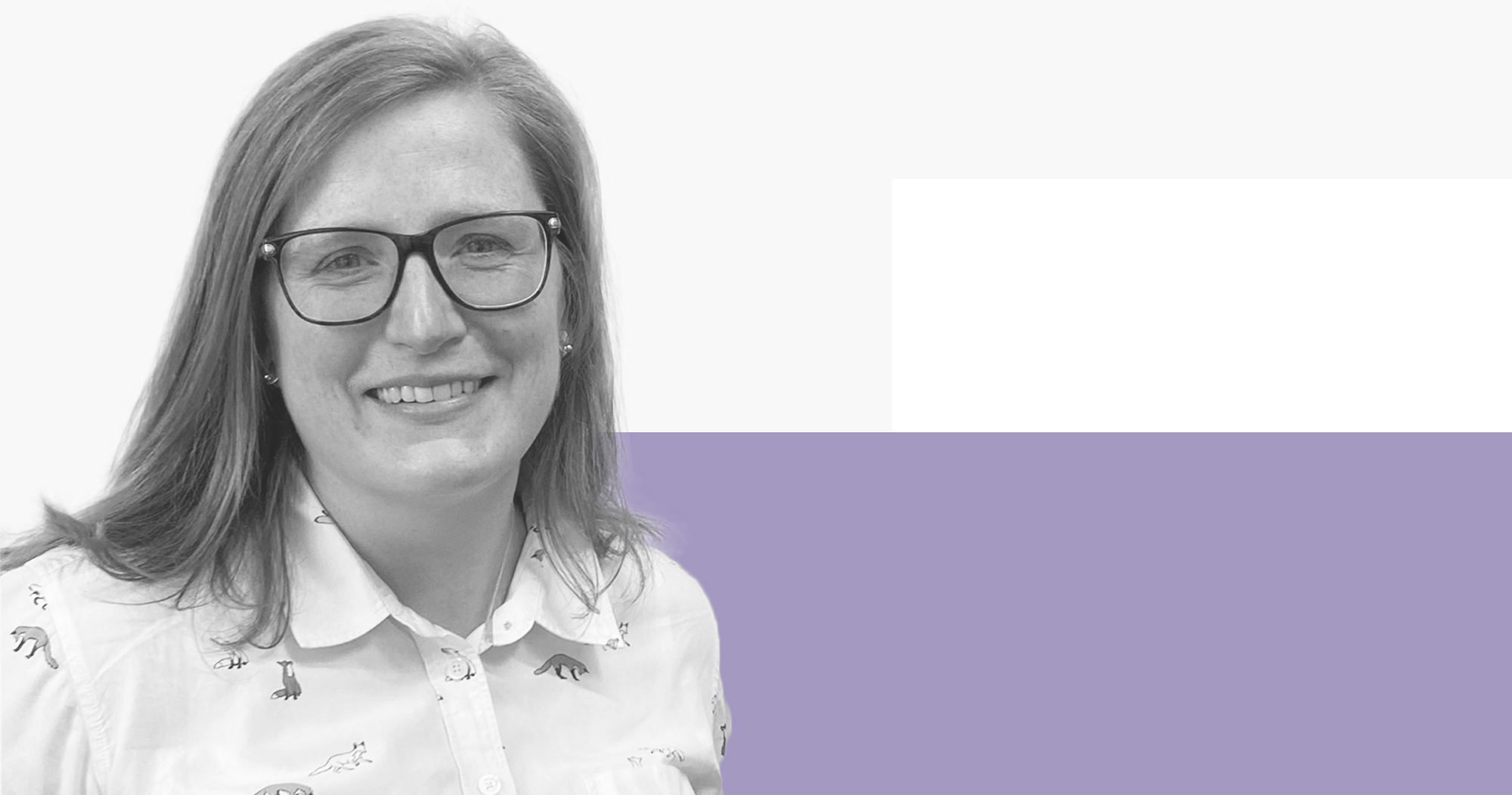 Kate, a secondary school teacher in Scotland, on a light grey and light purple background