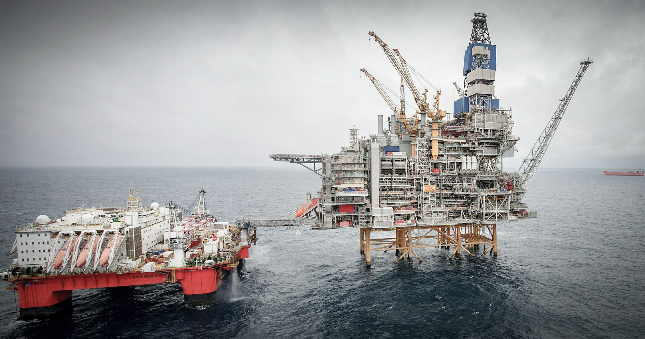 A North Sea oil rig on a grey, cloudy day